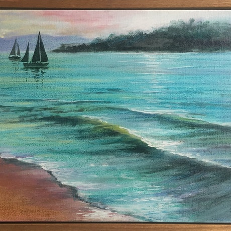 (CreativeWork) Sailing, last light by Robert Corcoran. Mixed Media. Shop online at Bluethumb.