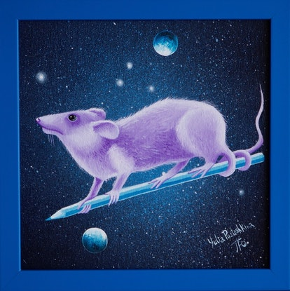 (CreativeWork) Lilac Mouse of Cosmos  by Yulia Pustoshkina. Oil Paint. Shop online at Bluethumb.