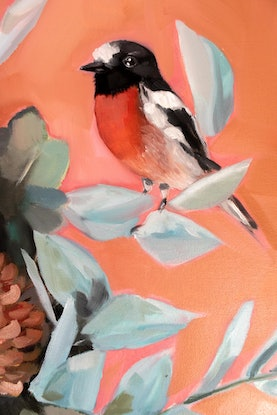 (CreativeWork) Scarlet Robin by Sam Suttie. Oil Paint. Shop online at Bluethumb.