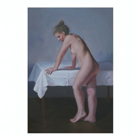 (CreativeWork) Nude with Table by Jemma Cakebread. Oil Paint. Shop online at Bluethumb.