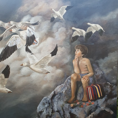 (CreativeWork) The travel by Cristian Frost. Oil Paint. Shop online at Bluethumb.