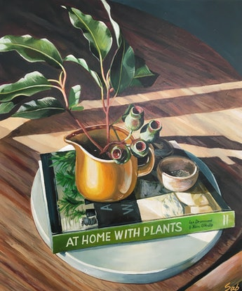 (CreativeWork) At home with plants by Sarah Abbott. Acrylic Paint. Shop online at Bluethumb.