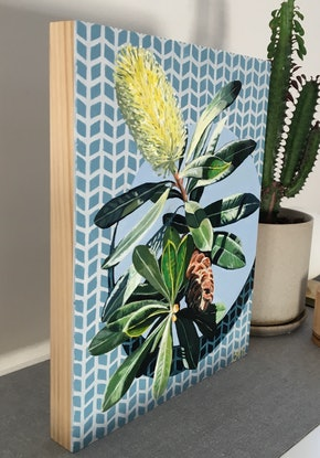 (CreativeWork) Banksia  on baby blue by Sarah Abbott. Acrylic Paint. Shop online at Bluethumb.
