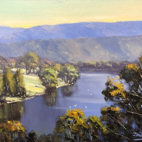 (CreativeWork) Looking Over The Hawkesbury by John Rice. Oil Paint. Shop online at Bluethumb.
