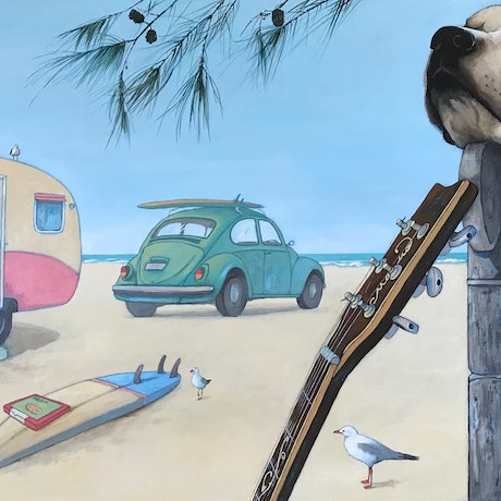 (CreativeWork) Beach Life by Mary Conder. Acrylic Paint. Shop online at Bluethumb.