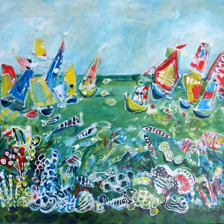 (CreativeWork) Time Out on the Water - Boat, Fish, Coral Seascape by Wendy Eriksson. Mixed Media. Shop online at Bluethumb.