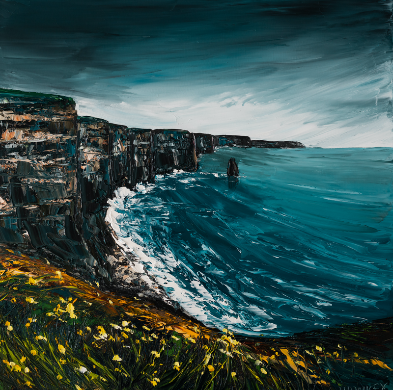 (CreativeWork) Cliffs Of Moher 3 - Ireland Seascape by Angela Hawkey. Oil Paint. Shop online at Bluethumb.