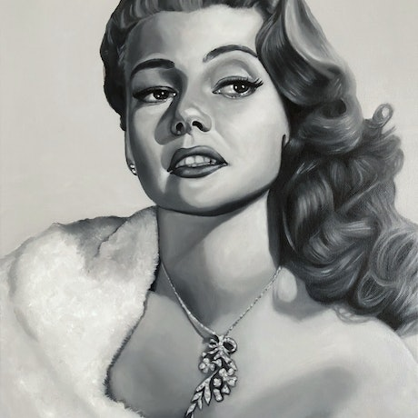 (CreativeWork) Rita Hayworth by Jeremy Bianco. Oil Paint. Shop online at Bluethumb.