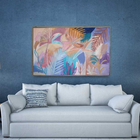 (CreativeWork) Sienna Palms - Framed by Claire Cooper. Acrylic Paint. Shop online at Bluethumb.