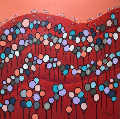 (CreativeWork) Red Hill by Ron Brown. Acrylic Paint. Shop online at Bluethumb.