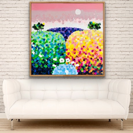 (CreativeWork) Waterhole 102x102 framed large textured abstract landscape by Sophie Lawrence. Acrylic Paint. Shop online at Bluethumb.
