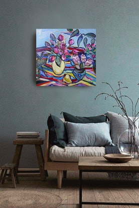 (CreativeWork) Tulips  by Katerina Apale. Oil Paint. Shop online at Bluethumb.