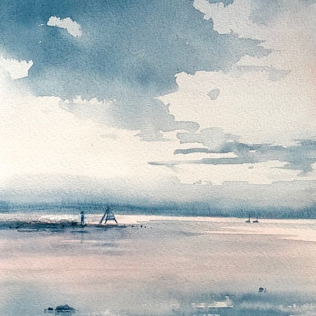 (CreativeWork) A winters afternoon. by Vivi Palegeorge. Watercolour Paint. Shop online at Bluethumb.
