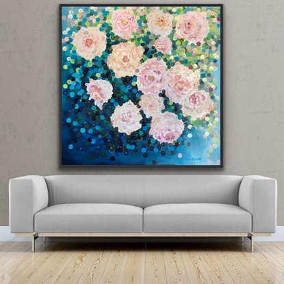 (CreativeWork) On sale Romantic roses 122x122 framed large textured abstract by Sophie Lawrence. Acrylic Paint. Shop online at Bluethumb.