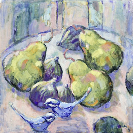 (CreativeWork) Pair With Pear by Beverley Tainton. Acrylic Paint. Shop online at Bluethumb.