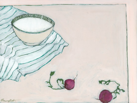 (CreativeWork) Bowl and radishes by Bronwen Hunt. Oil Paint. Shop online at Bluethumb.