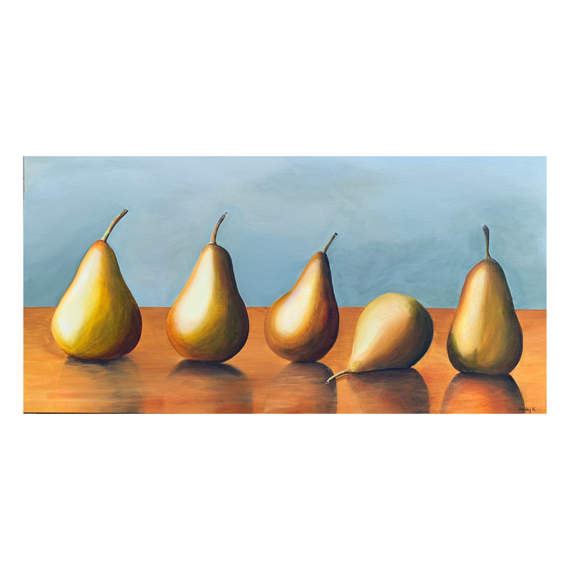 (CreativeWork) Pears in a Row by Hayley Kruger. Acrylic Paint. Shop online at Bluethumb.