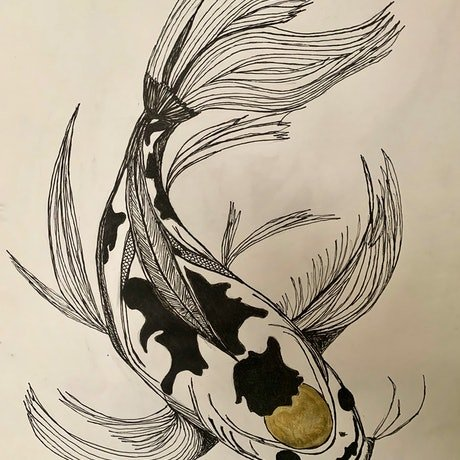 (CreativeWork) Golden Capped Koi by Erin Darmanin. Drawing. Shop online at Bluethumb.