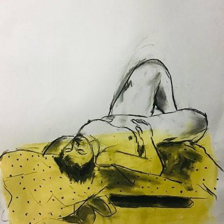 (CreativeWork) Yellow nude by Jean Cooper-Brown. Mixed Media. Shop online at Bluethumb.