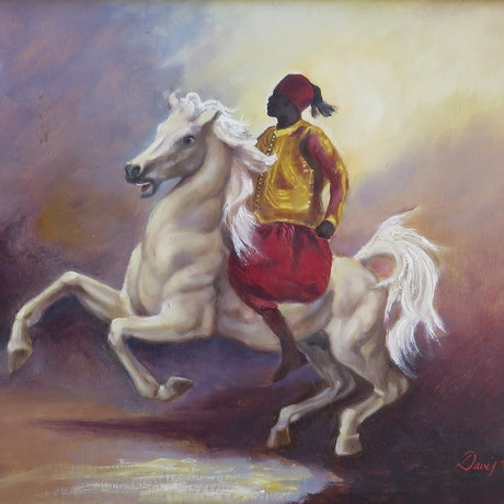 (CreativeWork) The White Stalion by Rob Davis. Oil Paint. Shop online at Bluethumb.