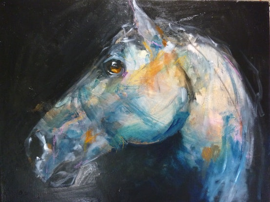 """(CreativeWork) """"THE PONY"""" by julie hutchings. Oil Paint. Shop online at Bluethumb."""