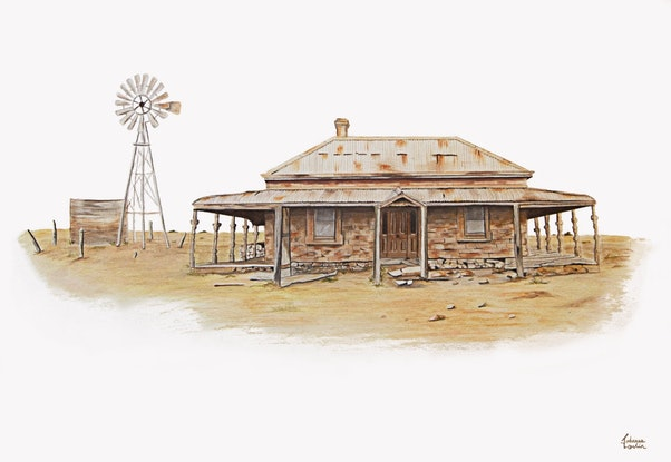 (CreativeWork) Withstanding the test of time - old Australian house by Johanna Larkin. Drawings. Shop online at Bluethumb.