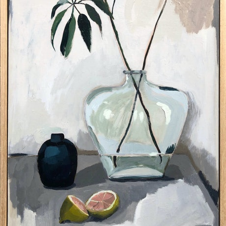 (CreativeWork) Still Life Study with Baby Pomello by Sally Browne. Oil Paint. Shop online at Bluethumb.