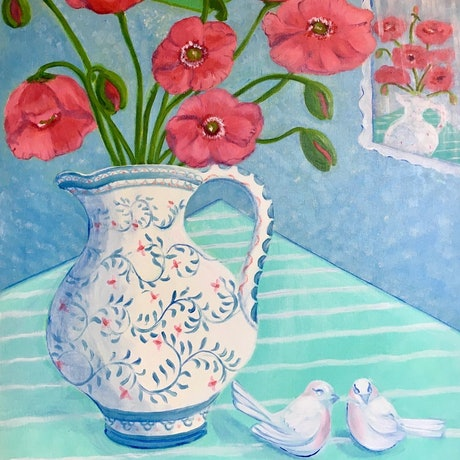 (CreativeWork) Portuguese Jug with Poppies by Kerry Ann Harvey. Oil. Shop online at Bluethumb.