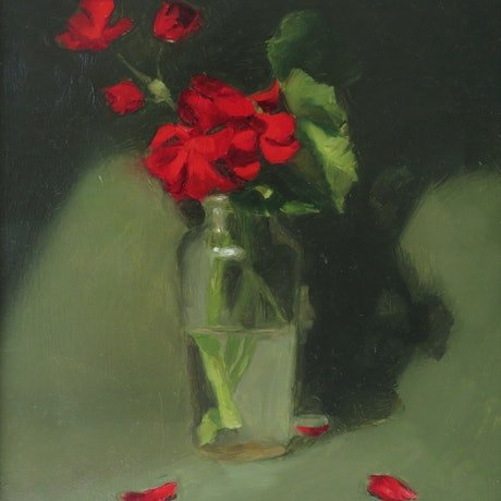 (CreativeWork) Geraniums by Jemma Cakebread. Oil Paint. Shop online at Bluethumb.