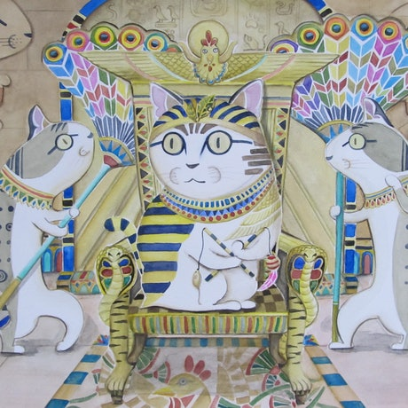 (CreativeWork) Egyptian Meow : The Throne by Ikuko Maddox. Watercolour Paint. Shop online at Bluethumb.