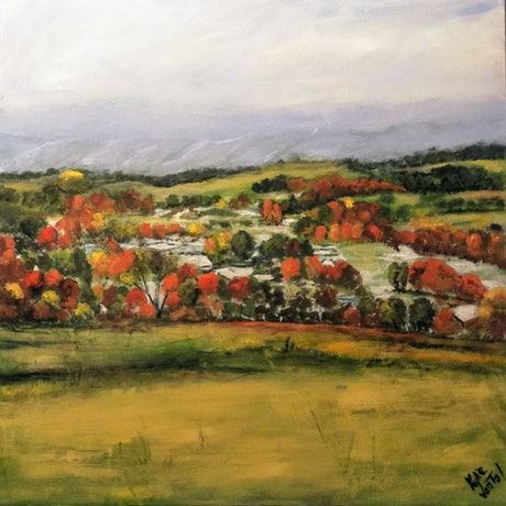"(CreativeWork) ""Batlow in Autumn"" by Kylie van Tol. Acrylic Paint. Shop online at Bluethumb."