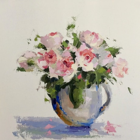 (CreativeWork) Roses from the Farmer by Mirjana Psakis. Oil Paint. Shop online at Bluethumb.