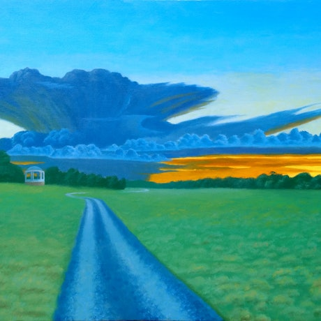(CreativeWork) Road To Somewhere by Geoff Harrison. Oil Paint. Shop online at Bluethumb.