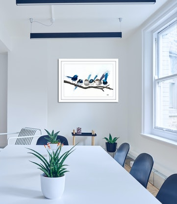(CreativeWork) Birds of a Feather -6 wrens Ed. 5 of 100 by Johanna Larkin. Print. Shop online at Bluethumb.