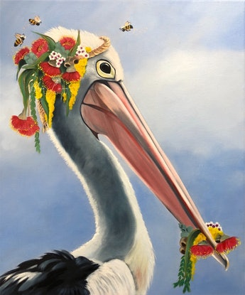 (CreativeWork) Catch of the Day - original oil painting pelican whimsy by Mia Laing. Oil Paint. Shop online at Bluethumb.