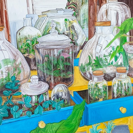 (CreativeWork) Gardens Under Glass by Paul Crowe. Oil Paint. Shop online at Bluethumb.