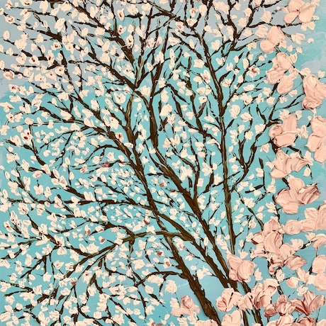 (CreativeWork) Cherry blossoms in spring by Anjana Rai. Acrylic Paint. Shop online at Bluethumb.