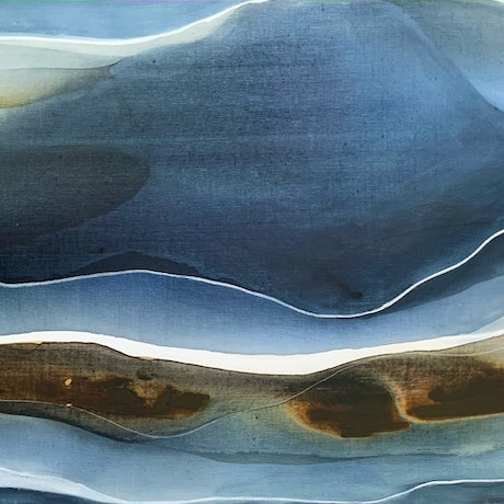 (CreativeWork) Cerulean Waves by Dinah Wakefield. Acrylic Paint. Shop online at Bluethumb.