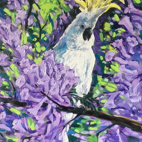 (CreativeWork) Cockatoo and Jacaranda – framed original painting by Irina Redine. Oil Paint. Shop online at Bluethumb.