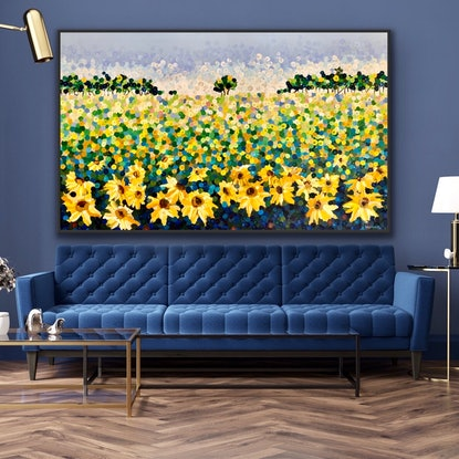 (CreativeWork) Sunflower 200x122 framed large textured abstract landscape by Sophie Lawrence. Acrylic Paint. Shop online at Bluethumb.