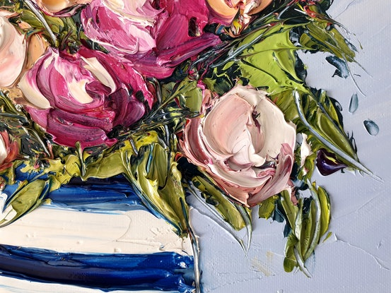 (CreativeWork) Country Rose by Angela Hawkey. Oil Paint. Shop online at Bluethumb.