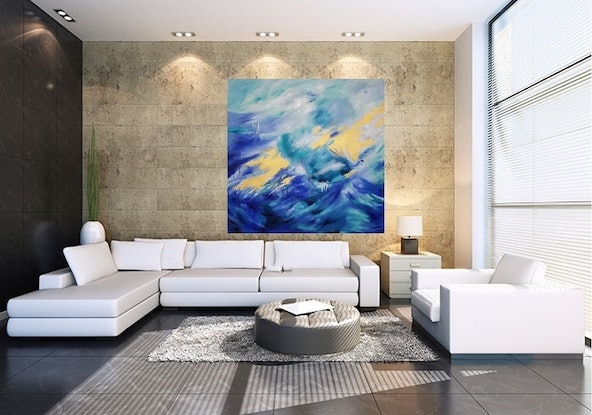 (CreativeWork) 'Peace Beneath'   - large abstract            by Susan Capan. Oil Paint. Shop online at Bluethumb.