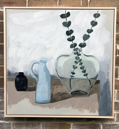 (CreativeWork) Still Life with Silver Dollar and Blue Jug by Sally Browne. Acrylic Paint. Shop online at Bluethumb.
