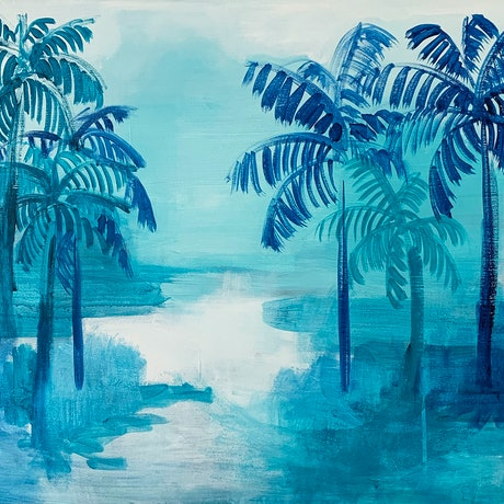 (CreativeWork) Mo'orea Palms by Jennifer Lia. Acrylic Paint. Shop online at Bluethumb.