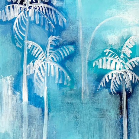 (CreativeWork) Palm Haze by Jennifer Lia. Acrylic Paint. Shop online at Bluethumb.