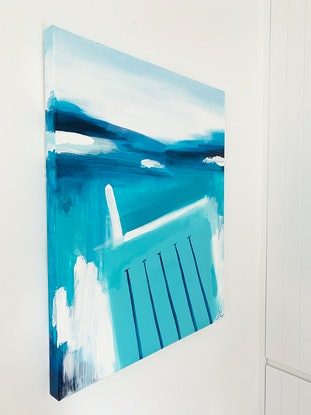 (CreativeWork) Deep Blue Icebergs by Jennifer Lia. Acrylic Paint. Shop online at Bluethumb.