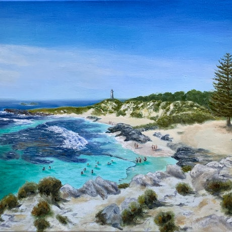 (CreativeWork) The Basin, Rottnest by Marilyn Kiesey. Oil Paint. Shop online at Bluethumb.