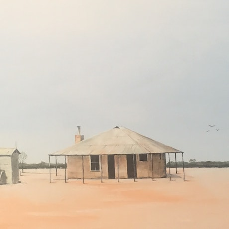 (CreativeWork) Abandoned sheep station by Geoff Lugg. Acrylic Paint. Shop online at Bluethumb.