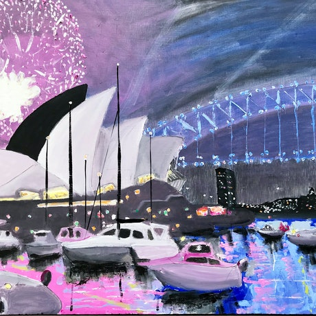 (CreativeWork) Sydney NYE Fireworks 7 by Geoff Hargraves. Oil Paint. Shop online at Bluethumb.
