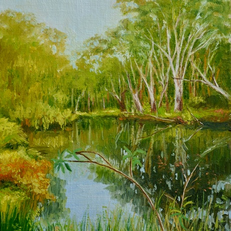 (CreativeWork) Evening on the Billabong by Dai Wynn. Oil Paint. Shop online at Bluethumb.
